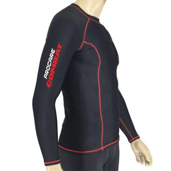PROCARE COMBAT #8217R Dri-Quik Men Compression Long Sleeves forJogging Running Basketball (Black/Red Flatlock Seam)