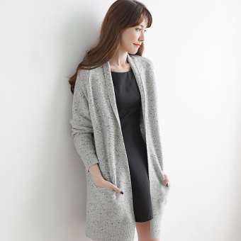 Qiudong Korean-style female mid-length pullover knit cardigan cashmere sweater (Gray)