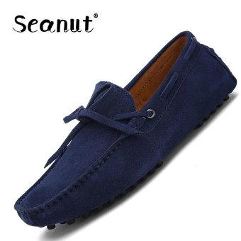 Seanut Fashion Leather Slip On Men Loafers Casual Shoes (Dark blue)- intl