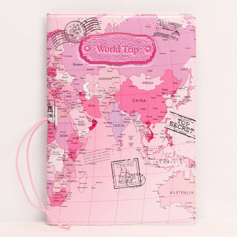 Sets multi-functional documents bag passport cover (Pink color map)