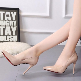 Sexy PU uppers High Heels Sandals 10 cm Thin Heeled Shoes (Apricot) - intl