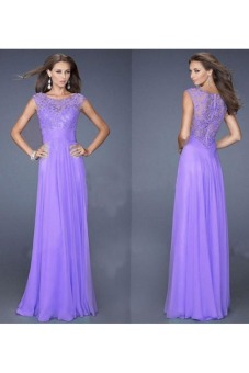 Sexy Womens Evening Party Prom Gown Formal Bridesmaid Cocktail Chiffon Lace Dress (Purple)