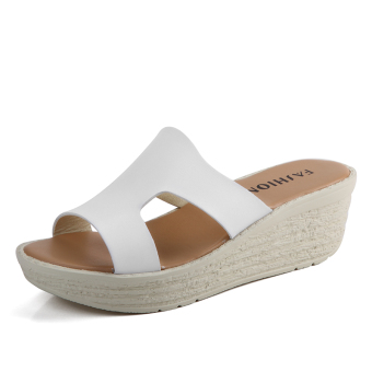 Shishang New style female thick bottomed sandals slippers (White)