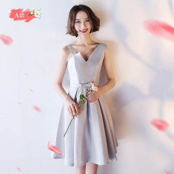 Silver color female bridesmaid Slim fit sisters dress bridesmaid dress (Silver short a Section) (Silver short a Section)