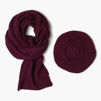 SM Accessories Knitted Muffler and Beret Set (Magenta)