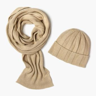 SM Accessories Ladies Knitted Muffler and Beanie Set (Brown)