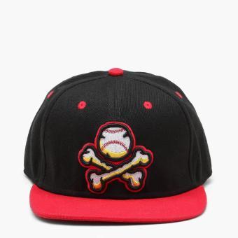 SM Accessories Mens Ball & Bones Snap Back Cap (Black, Red Brim)