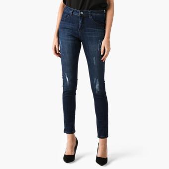 SM Woman High Waist Subtle Distressed Skinny Jeans (Dark Blue)
