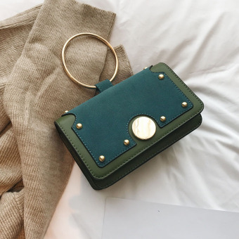 Small Square in Europe and America female New style matte shoulder messenger bag portable small bag (Green)