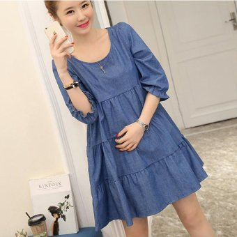 Small Wow Maternity Casual Round Solid Color Cotton Above Knee Dress Dark Blue - intl