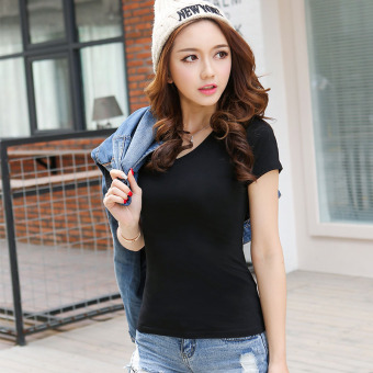 Solid color women Slim fit Short sleeve wild bottoming shirt New style short-sleeved t-shirt (Black round neck)