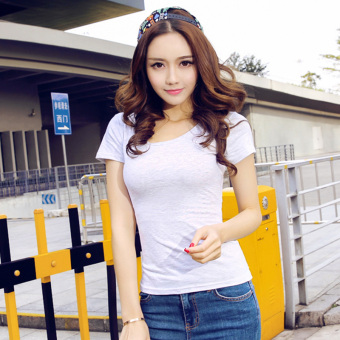 Solid color women Slim fit Short sleeve wild bottoming shirt New style short-sleeved t-shirt (White Flower gray round neck)