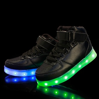 Sports Shoes LED Sneakers Luminous Sneakers Shoes for Girls Boys Kids Black - intl