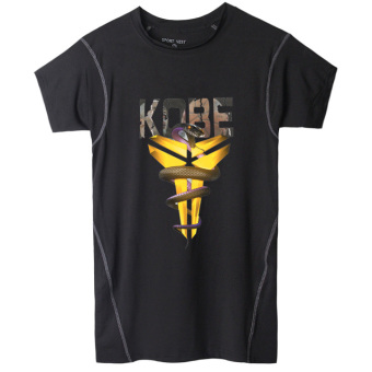Sports Short sleeved men football stretch fitness clothing basketball clothes (Kobe Bryant Black Mamba) (Kobe Bryant Black Mamba)