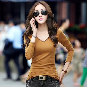 Spring and Autumn New style white long-sleeved t-shirt (Khaki)