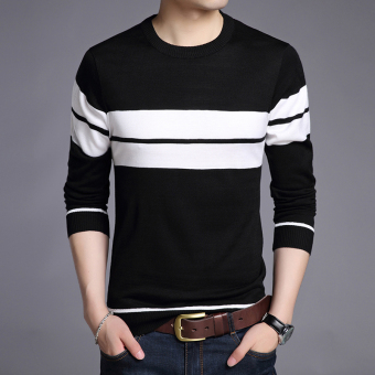 Stylish guy's autumn New style men's V-neck T-shirt (1205 black)