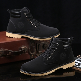 Stylish winter to help hight-top men boots Dr. Martens (Black two cotton)