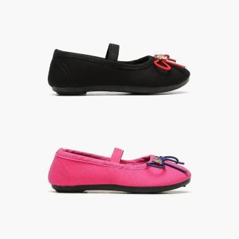 Sugar Kids 2-pairs Carol Fuchsia and Black Girls Mary Jane Flats (Size C8)