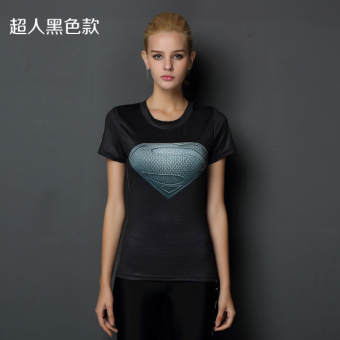 Superman beauty yoga running T-shirt fitness clothing (Superman black models)