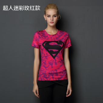 Superman beauty yoga running T-shirt fitness clothing (Superman camouflage rose Models)