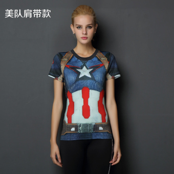 Superman beauty yoga running T-shirt fitness clothing (US Team strap Models)