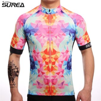 SUREA 2017 New Fabric Summer Men Quick Dry Cycling Jersey MtbBreathable Bicycle Clothing Short Sleeve Cool Bike Wear ClothesDS-06 - intl