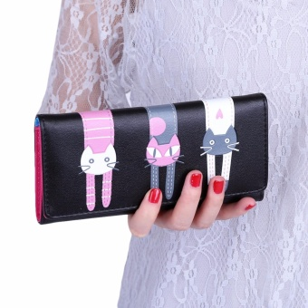 Sweet Cat Snap Fastener Long Horizontal Wallet for Girl - intl
