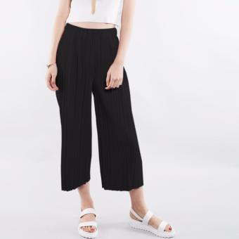 T69 Pleated Design Elasticated Culottes High Waist Pants (Black)