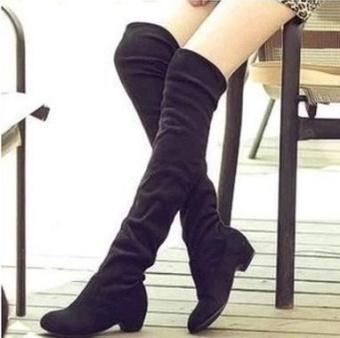 The new super high boots, knee boots, Flat Boots (black) - intl