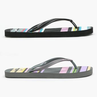 Toeberries 2 pairs Asther Stripes Black and Gray Ladies Flip-flops (Size 6)