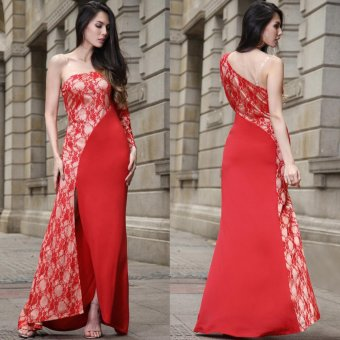 Top sale Women Ladies Sexy One Shoulder Long Lace Sleeve Fomal Party Cocktail Evening Dress Maxi Dress Clubwear Red - intl