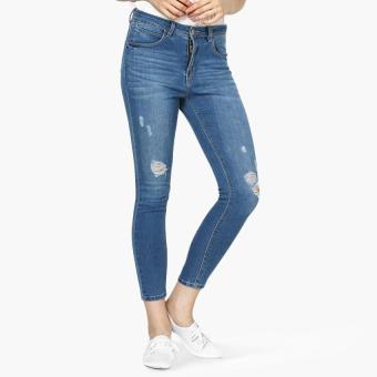 True Love Bleached Distressed Skinny Jeans (Blue)
