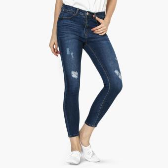 True Love Bleached Distressed Skinny Jeans (Indigo)