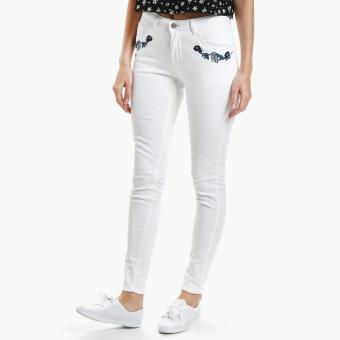 True Love Embroidered Skinny Jeans (White)