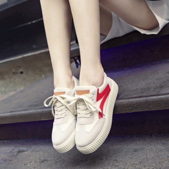 Ulzzang versatile female style canvas shoes BayMini shoes (Off-white-Hong)