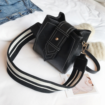 Ulzzang wide shoulder strap shoulder bucket women's bag small bag (Black)