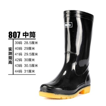 Warrior gum outsole genuine male models wear and rubber boots (807 black tube)