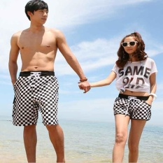 PHP 399. Women and men couple beach pants Quick dry Plaid shorts Summer beach wear ...