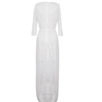 Women Bridesmaid Lace Prom Gown Formal Cocktail Maxi Dress White -