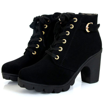Women Chunky Block High Heel Ankle Boots Winter Nubuck Buckle Martin Boot Shoes Black -Intl