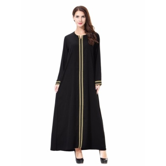 Women Ethnic Pure Color Muslim Islamic Long Sleeve Maxi Dress Arab Jilbab Abaya Cloth(Orange) - intl