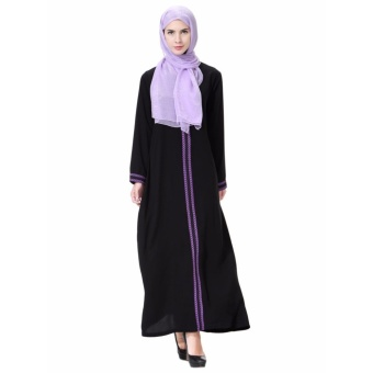 Women Ethnic Pure Color Muslim Islamic Long Sleeve Maxi Dress Arab Jilbab Abaya Cloth(Purple) - intl