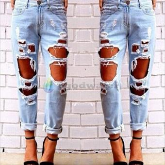 Women Hole Destroyed Ripped Distressed Slim Denim Pants Boyfriend Jeans Trousers