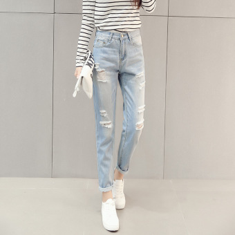 Women Hole Ripped Cropped Jeans High Waist Pencil Denim Pants(Lightblue) - intl