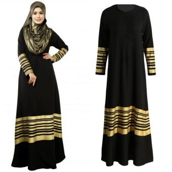 Women Muslim Maxi Dress Stripes Zipper Long Sleeves Abaya Kaftan Islamic Robe Long Dress Black - intl