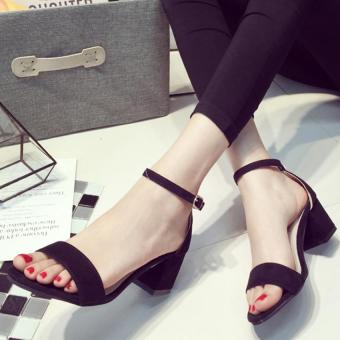 Women PU Sandles Shoes With Thick Heel Strap (Black) () () - Intl