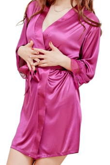 Women Sexy Satin Open Front Belted Nightgown + T-back Purple