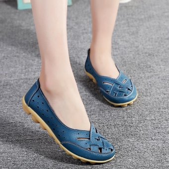 Women's Hollow Out Garden Casual Leather Flat Loafers Shoes - intl
