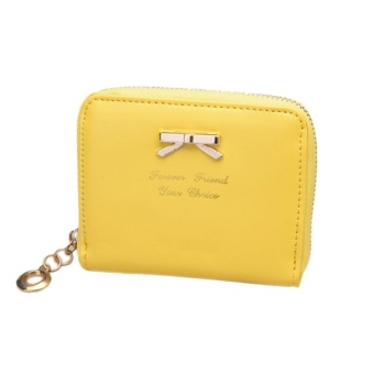 Women's Purse 2017 Coin Purse Clutch Women Pouches Wallets Short Small Bag PU Leather Female Purses For Coins Yellow - intl