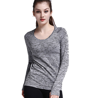 Women's quick-drying fitness clothing yoga clothes I shirt I long-sleeved t-shirt (Gray)